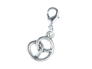 Pretzel Oktoberfest Charm Zipper Pull Pendant For Bracelet  Wristlet Miniblings Silver – Bild 1