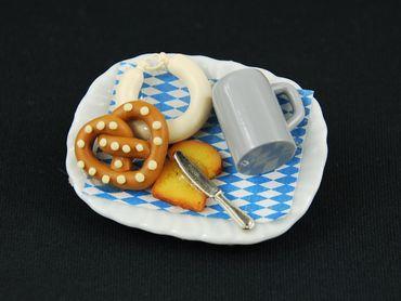 Oktoberfest Teller Brosche Miniblings Essen Wiesn Bier Brezel Wurst Toast Messer – Bild 2
