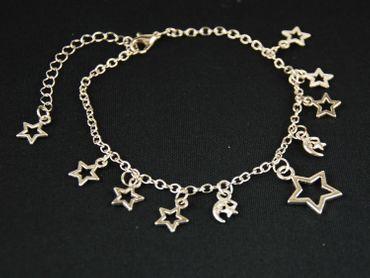 Sonne Mond Sterne Fußkettchen Fußkette Miniblings Anhänger Sternchen Silber – Bild 1