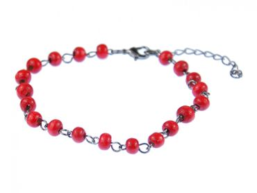 Red Beads Anklet Miniblings Ethno Folklore Necklace Wood Beads Red – Bild 1