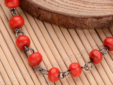 Red Beads Anklet Miniblings Ethno Folklore Necklace Wood Beads Red – Bild 3