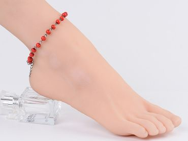Red Beads Anklet Miniblings Ethno Folklore Necklace Wood Beads Red – Bild 5