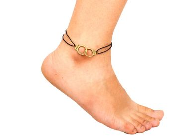 Handcuffs Anklet Anklet Miniblings Handcuffs Police Freedom Bronze – Bild 3