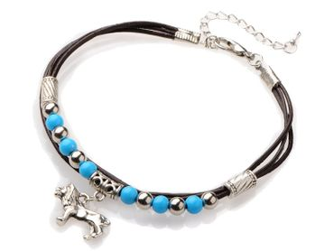 Lion Leo Lion Pearl Anklet Anklet Miniblings Ethnic Folklore India Silver Turquoise – Bild 4