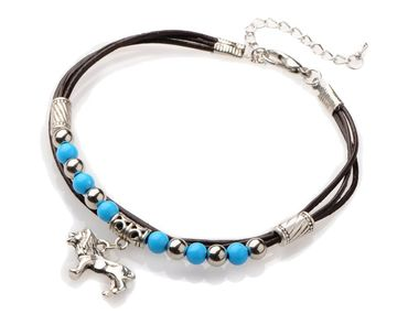 Lion Leo Lion Pearl Anklet Anklet Miniblings Ethnic Folklore India Silver Turquoise – Bild 1