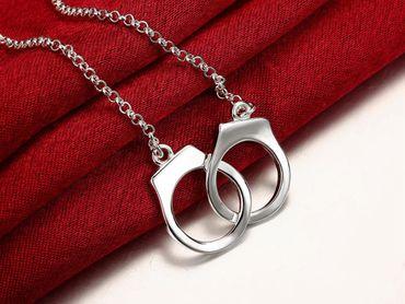 Handcuffs Necklace Link Necklace Miniblings Handcuffs Police 925 Silver 40cm – Bild 5