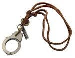 Handschelle Kette Leder Miniblings Police Handcuffs Kreuz Anhänger Bronze braun