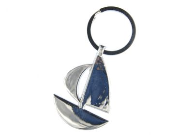 Sailboat Key NecklaceKey Ring Miniblings Necklace Key Ring Boat Silver – Bild 1