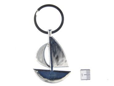 Sailboat Key NecklaceKey Ring Miniblings Necklace Key Ring Boat Silver – Bild 2