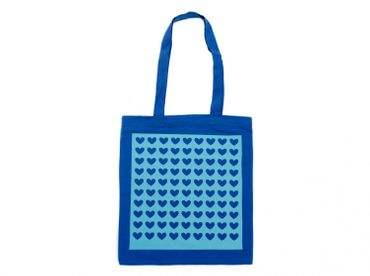 Cotton Carrier Bag Jute Bag Shopper Miniblings Blue Velvety Flock Heart Pattern Turquoise – Bild 1