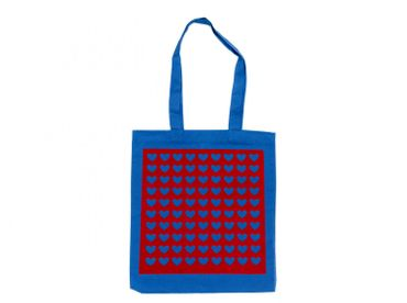 Cotton Carrier Bag Jute Bag Shopper Miniblings Blue Velvety Flock Red Love Heart Pattern – Bild 1