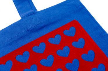 Baumwolltragetasche Jutebeutel Beutel Miniblings blau FLOCK Liebe Herzmuster rot – Bild 2