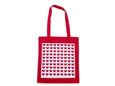 Baumwolltragetasche Jutebeutel Beutel Miniblings rot GLATT Herzmuster weiss – Bild 1