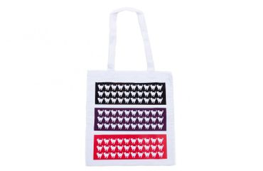 Baumwolltragetasche Jutebeutel Beutel Miniblings weiss GLATT Katzen dreifarbig – Bild 1