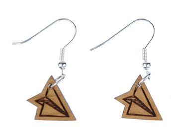 Paper Airplane Earrings Earring Miniblings Aircraft Pilots Origami Wood S – Bild 1