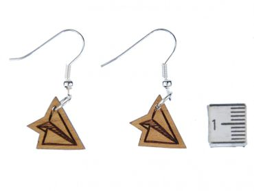 Paper Airplane Earrings Earring Miniblings Aircraft Pilots Origami Wood S – Bild 2