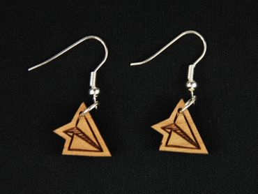 Paper Airplane Earrings Earring Miniblings Aircraft Pilots Origami Wood S – Bild 3