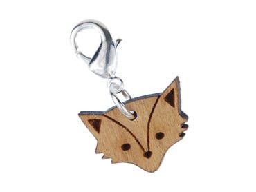 Foxhead Charm Zipper Pull Pendant Miniblings Fox Animal Cat Zoo Wood Lc – Bild 3