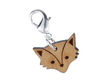 Foxhead Charm Zipper Pull Pendant Miniblings Fox Animal Cat Zoo Wood Lc – Bild 1