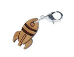 Rocket Charm Zipper Pull Pendant Miniblings Spaceship Spaceshuttle Space Wood Lc