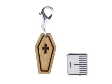 Coffin Charm Zipper Pull Pendant Miniblings Sarcophagus Death Halloween Wood Lc – Bild 2