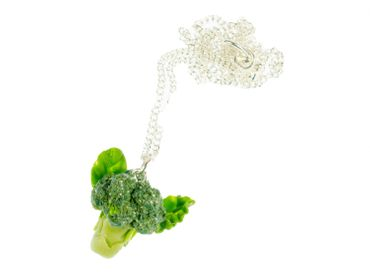 Broccoli Necklace Miniblings Necklace 45cm Silver Veggie Cabbage Green – Bild 1