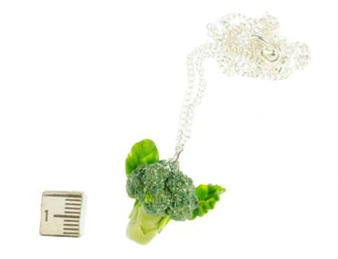 Broccoli Necklace Miniblings Necklace 45cm Silver Veggie Cabbage Green – Bild 3