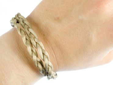 Cord Bracelet Wristlet Dangle Miniblings Strap Double Braided Beige Shiny Silver Hook – Bild 5