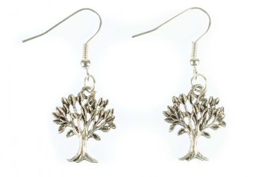 Tree Earrings Miniblings Leaves Forest Plant Deciduous Tree Filigree Silver – Bild 2