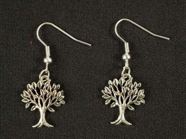Tree Earrings Miniblings Leaves Forest Plant Deciduous Tree Filigree Silver – Bild 3