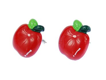 Apple Earrings Ear Studs Earstuds Miniblings Fruit Apple Fruit Shine – Bild 4