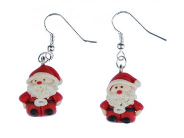Santa Claus Earrings Christmas 3D Nikolaus Santa Claus Polymer Clay – Bild 1
