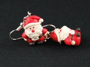 Weihnachtsmann Ohrringe Weihnachten 3D Nikolaus Santa Claus Fimo – Bild 2