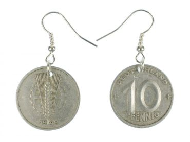 10 GDR East Germany DDR Penny Coin Earrings Miniblings Money Nostalgia Old Wall – Bild 1