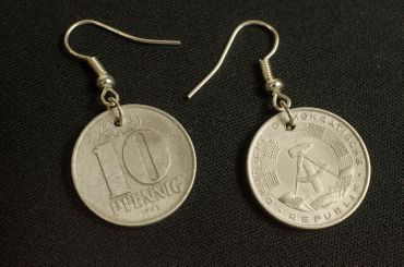 10 GDR East Germany DDR Penny Coin Earrings Miniblings Money Nostalgia Wall Again – Bild 3