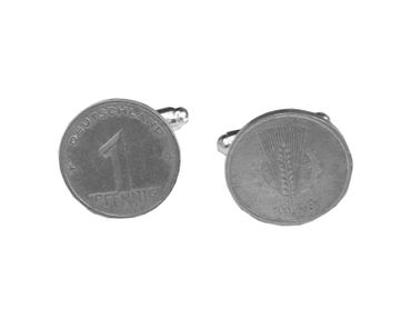 1 Pfennig German Germany GDR East Germany DDR Cuff Links Cufflinks Miniblings Nostalgia Coin Dime Old – Bild 2