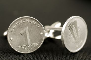 1 Pfennig German Germany GDR East Germany DDR Cuff Links Cufflinks Miniblings Nostalgia Coin Dime Old – Bild 1