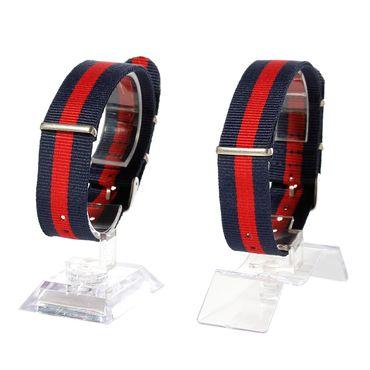 Watchband Wristwatch For Men Women Watch Bracelet Wristlet Miniblings Textile Dark Blue Red 20mm – Bild 2
