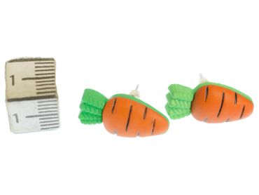 Carrot Earrings Ear Studs Earstuds Miniblings Rabbit Vegetable Carrot Orange Green – Bild 3