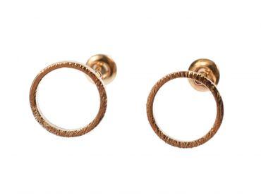 Kreis Ohrstecker Miniblings Stecker Ohrringe Geometrie Ring Filigran rosegold – Bild 1