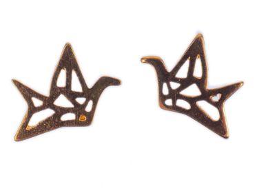 Kranich Ohrstecker Miniblings Stecker Ohrringe Origami Formen Vogel rose gold – Bild 1