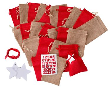 Miniblings DIY Advent Calender Set 24 Jute Bags Numbers Stars and Band - German Germany Adventskalender – Bild 2