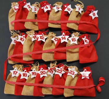 Miniblings DIY Advent Calender Set 24 Jute Bags Numbers Stars and Band - German Germany Adventskalender – Bild 3