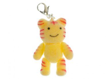 Tiger Charm Zipper Anhänger Miniblings Comic Figur Haustier Raubkatze Flock gelb – Bild 1