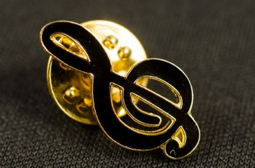 Clef Brooch Pin Badge Miniblings Orchestra Notes Black Gold – Bild 4