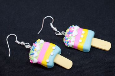 IPopsicle Ice Lollies Earrings Miniblings Ice Cream Summer Fruit Colorful Stripes – Bild 3
