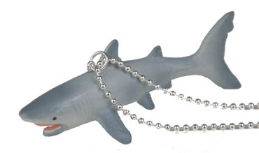 Shark Necklace Miniblings 80cm Silver Seafood Shark White Shark Gray – Bild 1
