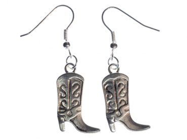 Cowboy Boots Earrings Miniblings Wild West Cowboy Boots Silver