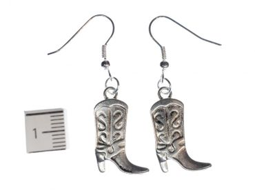 Cowboy Boots Earrings Miniblings Wild West Cowboy Boots Silver – Bild 2