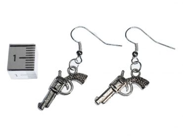 Revolver Earrings Miniblings Wild West Cowboy Colt Pistol Silver – Bild 2